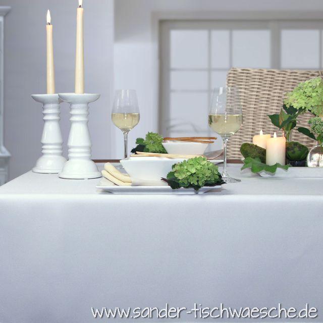 weißes Tischtuch