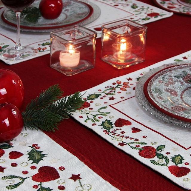 Weihnachten Tischsets weiß-rot